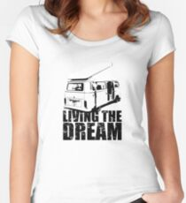 VW Camper Open Roof Living The Dream Women's Fitted Scoop T-Shirt