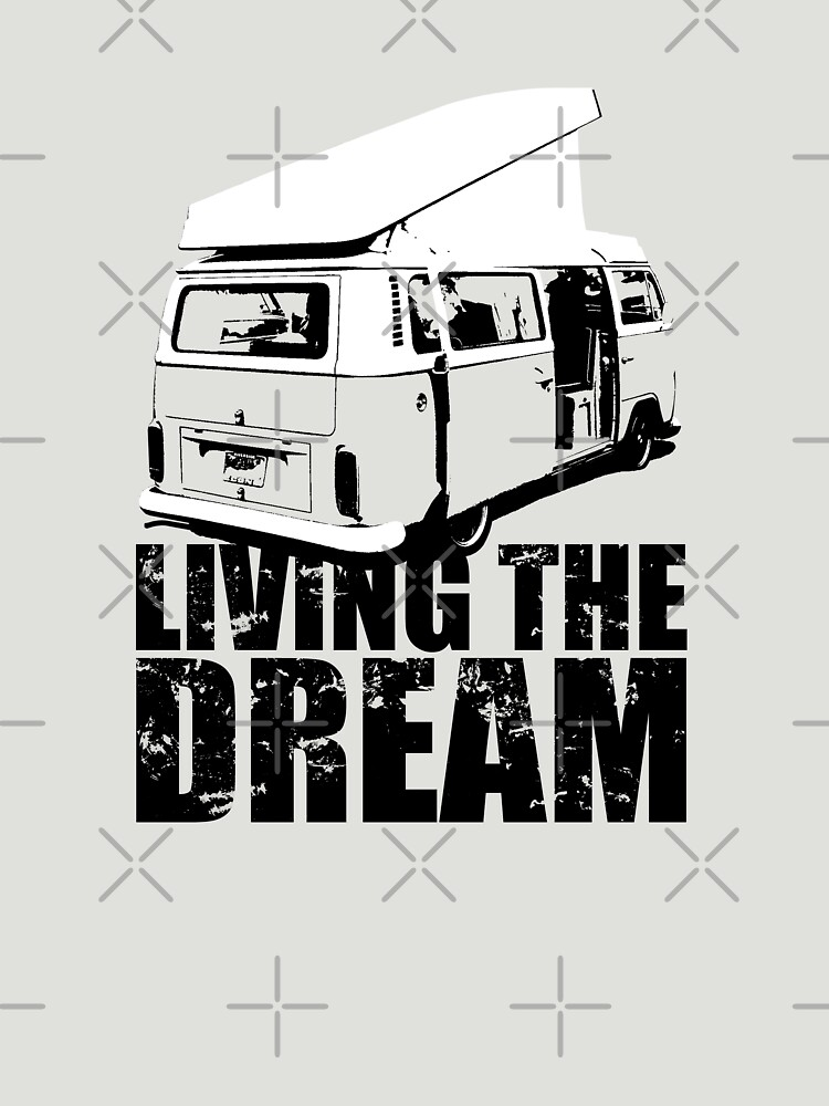 VW Camper Open Roof Living The Dream | Unisex T-Shirt