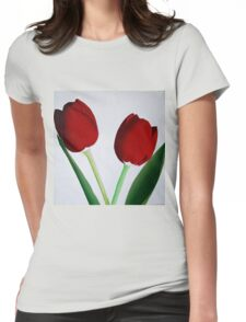 TWO RED TULIPS Womens Fitted T-Shirt