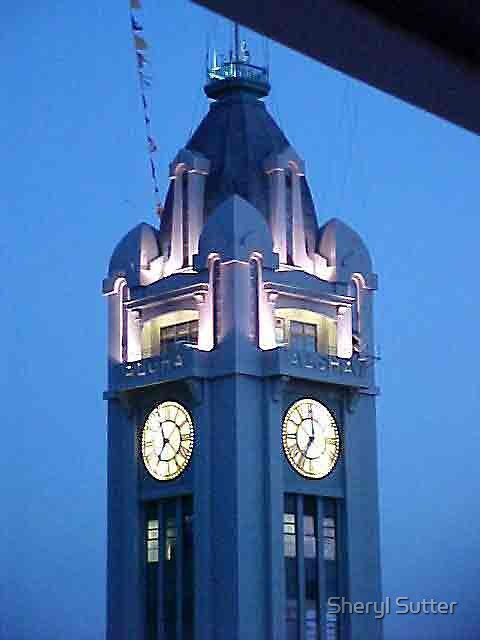 Honolulu Clock Tower at Night by Sheryl Sutter
