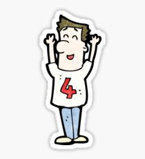 cartoon man in shirt with number four Sticker