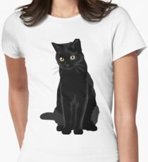 Black Cat Women's Fitted T-Shirt