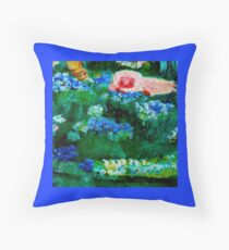 Little Lamb Sleeping in the Garden Blue Throw Pillow