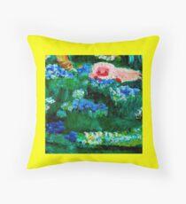 Little Lamb Sleeping in the Garden Yellow by Marie-Jose Pappas Throw Pillow