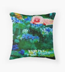 Little Lamb Sleeping in the Garden Red by Marie-Jose Pappas Throw Pillow