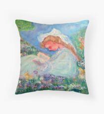 Little Girl Reading in the Garden  Throw Pillow