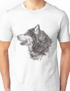 Classic Siberian Husky Dog Profile Drawing Unisex T-Shirt