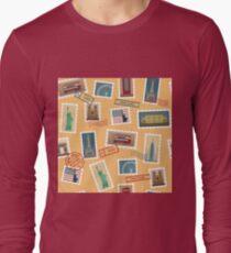 Travel Postage Stamps Seamless Pattern: USA, New York, London, Paris Long Sleeve T-Shirt