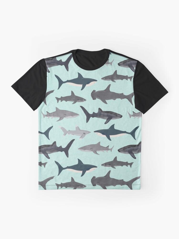 Alternate view of Sharks, illustration, art print ,ocean life,sea life ,animal ,marine biologist ,kids ,boys, gender neutral ,educational ,Andrea Lauren , shark week, shark, great white shark,  Graphic T-Shirt