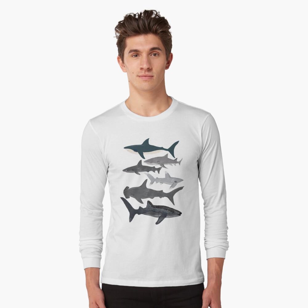 Haie, Illustration, Kunstdruck, Leben im Meer, Leben im Meer, Tier, Meeresbiologe, Kinder, Jungen, geschlechtsneutral, lehrreich, Andrea Lauren, Hai-Woche, Hai, weißer Hai, Langarmshirt