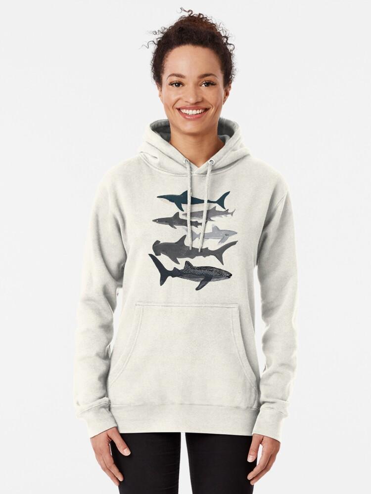 Alternate view of Sharks, illustration, art print ,ocean life,sea life ,animal ,marine biologist ,kids ,boys, gender neutral ,educational ,Andrea Lauren , shark week, shark, great white shark,  Pullover Hoodie