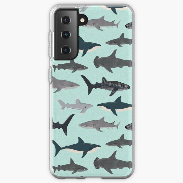 Sharks, illustration, art print ,ocean life,sea life ,animal ,marine biologist ,kids ,boys, gender neutral ,educational ,Andrea Lauren , shark week, shark, great white shark,  Samsung Galaxy Soft Case