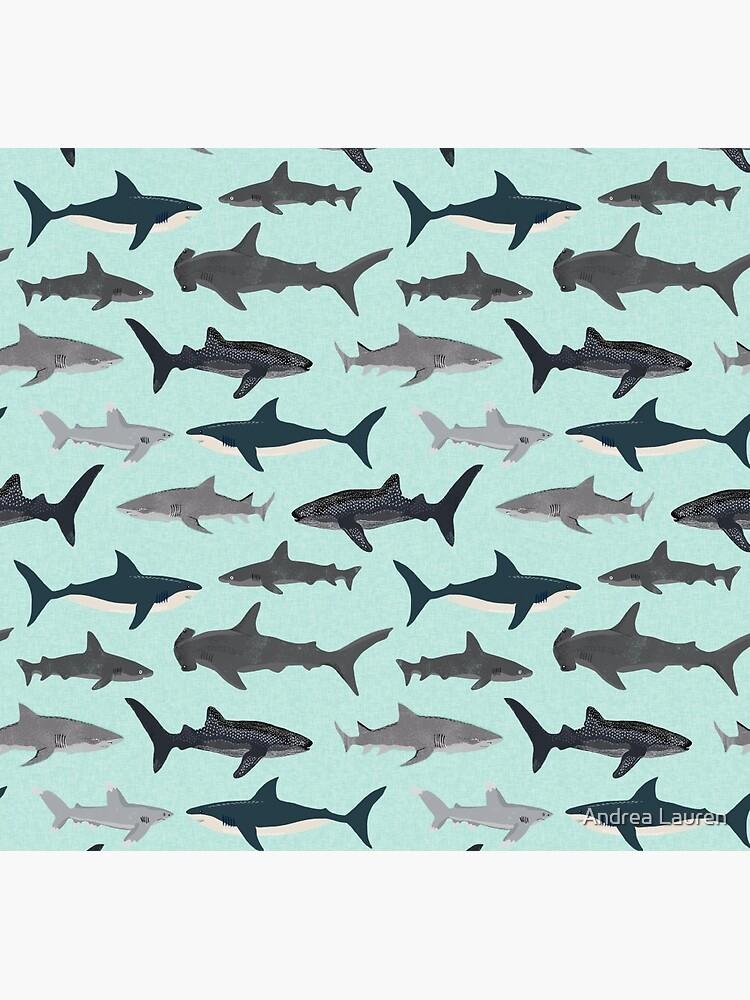 Haie, Illustration, Kunstdruck, Leben im Meer, Leben im Meer, Tier, Meeresbiologe, Kinder, Jungen, geschlechtsneutral, lehrreich, Andrea Lauren, Hai-Woche, Hai, weißer Hai, von papersparrow
