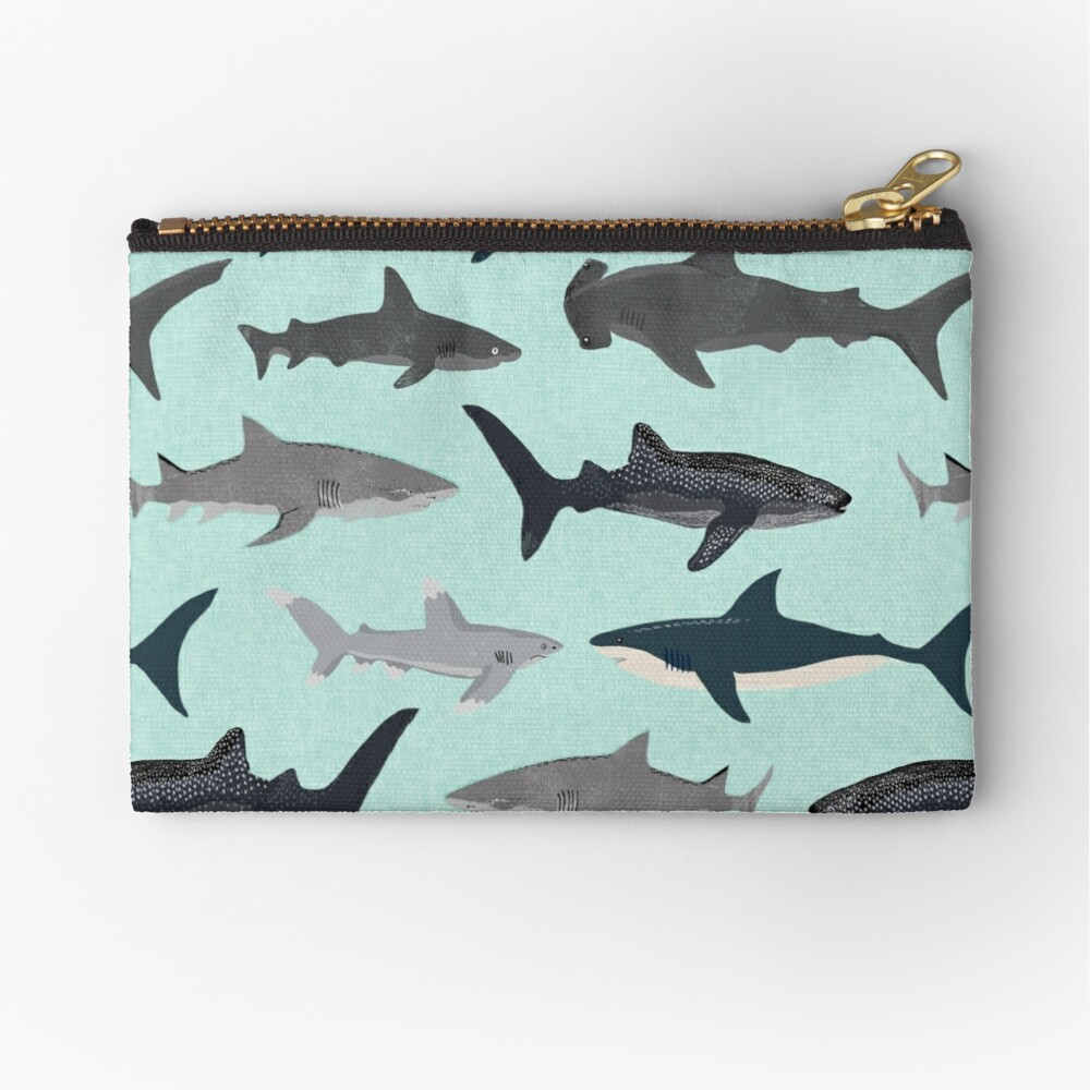 Sharks, illustration, art print ,ocean life,sea life ,animal ,marine biologist ,kids ,boys, gender neutral ,educational ,Andrea Lauren , shark week, shark, great white shark,  Zipper Pouch