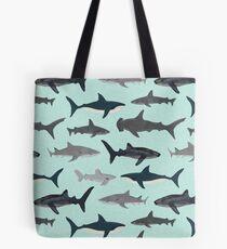 Sharks, illustration, art print ,ocean life,sea life ,animal ,marine biologist ,kids ,boys, gender neutral ,educational ,Andrea Lauren , shark week, shark, great white shark,  Tote Bag