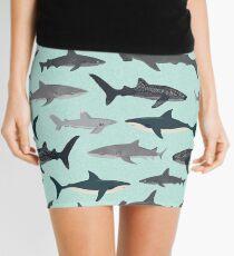 Sharks, illustration, art print ,ocean life,sea life ,animal ,marine biologist ,kids ,boys, gender neutral ,educational ,Andrea Lauren , shark week, shark, great white shark,  Mini Skirt