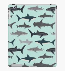 Sharks, illustration, art print ,ocean life,sea life ,animal ,marine biologist ,kids ,boys, gender neutral ,educational ,Andrea Lauren , shark week, shark, great white shark,  iPad Case/Skin
