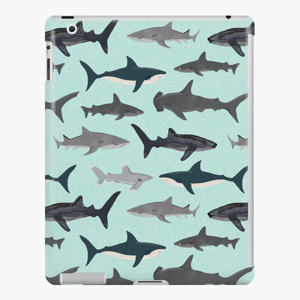 Sharks, illustration, art print ,ocean life,sea life ,animal ,marine biologist ,kids ,boys, gender neutral ,educational ,Andrea Lauren , shark week, shark, great white shark,  iPad Case & Skin