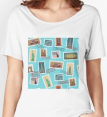 Travel Postage Stamps Seamless Pattern: USA, New York, London, Paris Women's Relaxed Fit T-Shirt