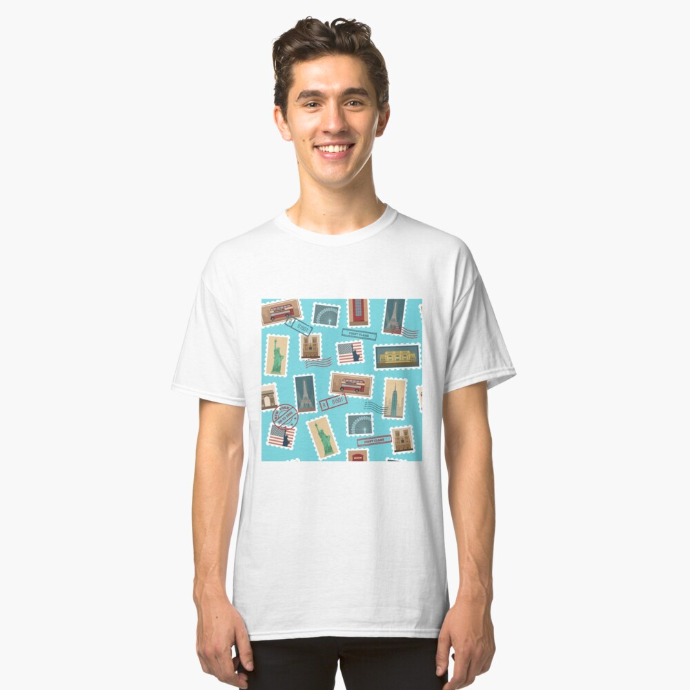 Reise-Briefmarken-nahtloses Muster: USA, New York, London, Paris Classic T-Shirt