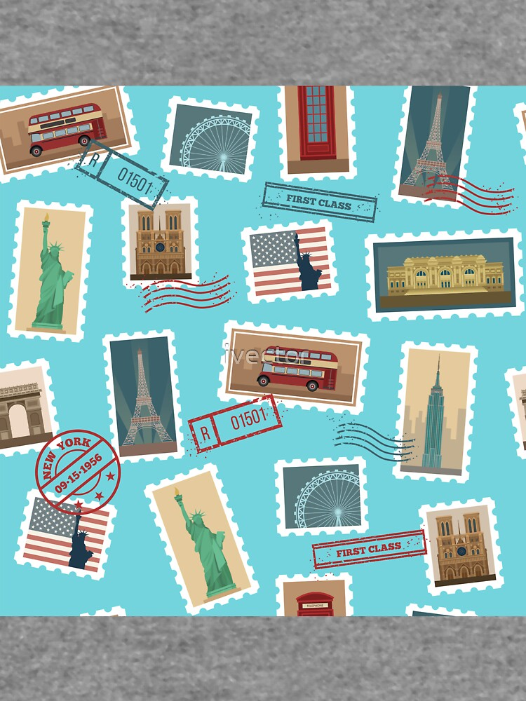 Reise-Briefmarken-nahtloses Muster: USA, New York, London, Paris von ivector