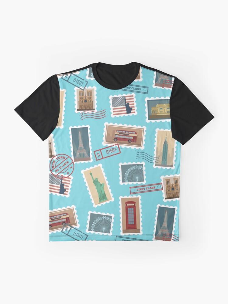 Alternative Ansicht von Reise-Briefmarken-nahtloses Muster: USA, New York, London, Paris Grafik T-Shirt