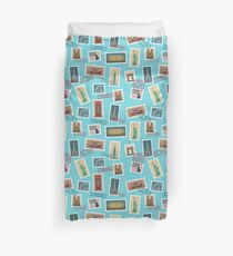 Travel Postage Stamps Seamless Pattern: USA, New York, London, Paris Duvet Cover