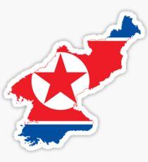 North Korean Flag Map Sticker