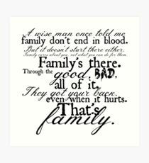 Family Don't End in Blood Art Print