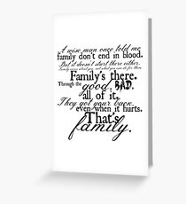 Family Don't End in Blood Greeting Card