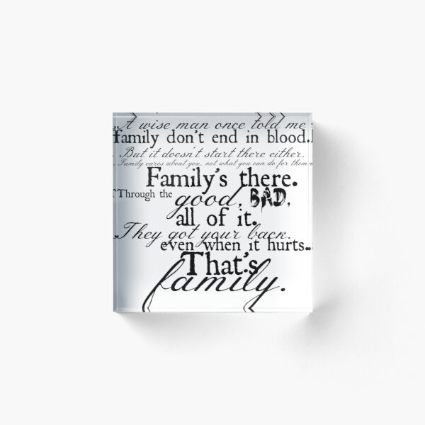 Family Don't End in Blood Acrylic Block