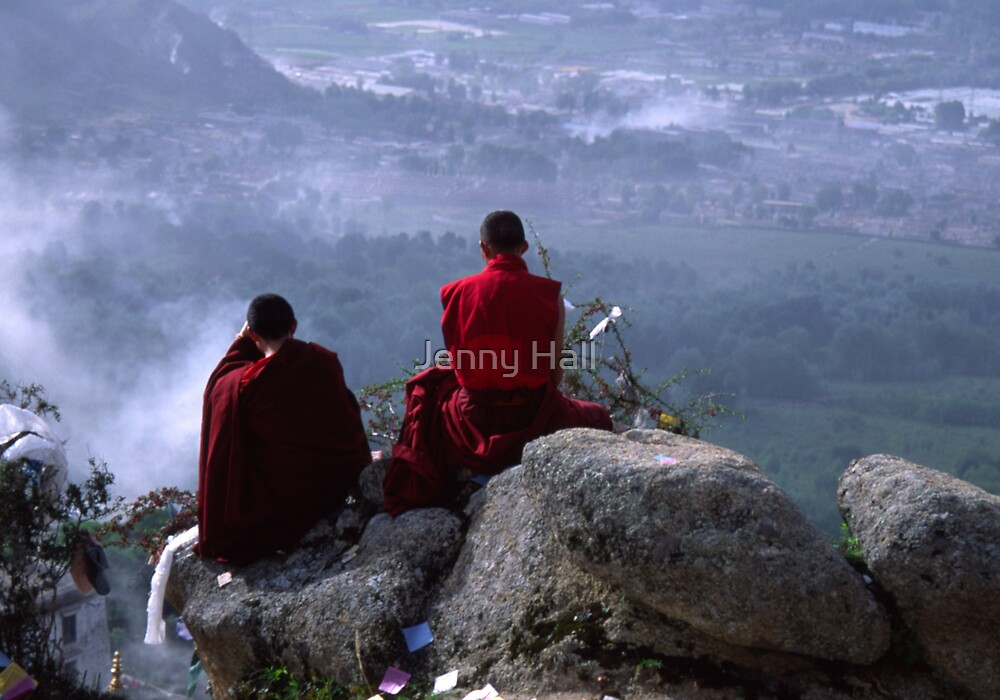 Monks on mountain top by Jenny Hall