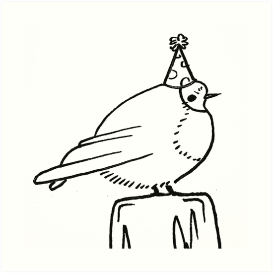 A Tiny Bird In A Tiny Party Hat Art Prints By Caitlingray1684