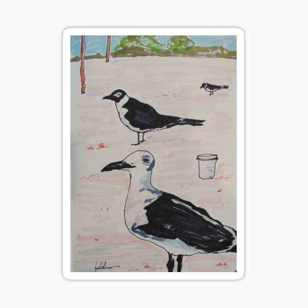"""WAITING"" - SEAGULLS ON THE BEACH - PENS Sticker"