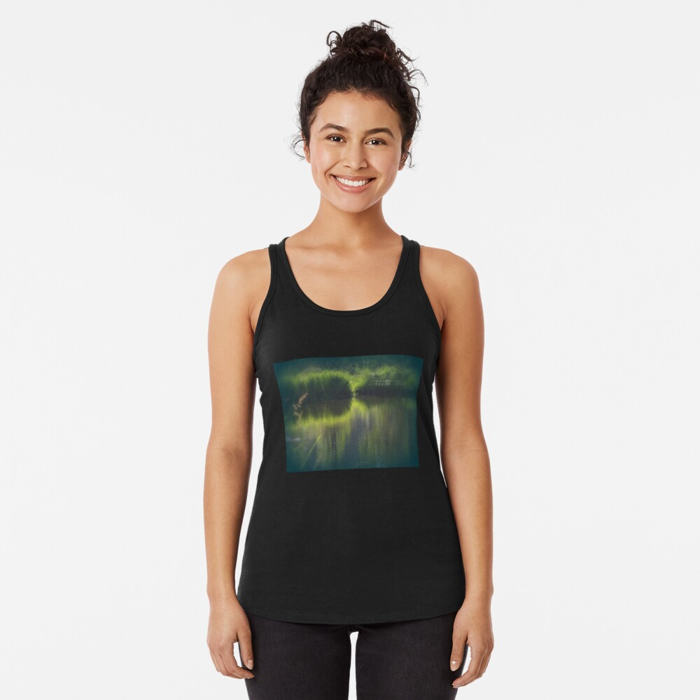 turtle swimming away at Trojan pond, near Goble, Oregon Racerback Tank Top
