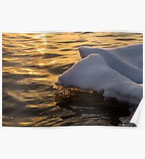 Icy Gold and Silk - Luminous Icicles Reflected on Glossy Water Poster