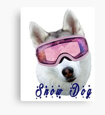 Snow Dog with Goggles Canvas Print