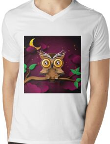 Cute Owls on Colorful Branches green purple                                             Mens V-Neck T-Shirt