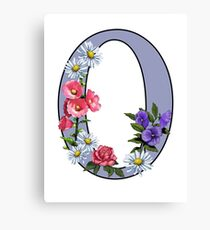 Initial O, Letter, O, Monogram, Alphabet, Flower Art, Decorated Letter Canvas Print