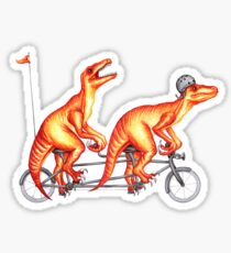 Cycling raptors on tandem bicycle Sticker