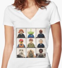 Portrait Collection 1 Women's Fitted V-Neck T-Shirt