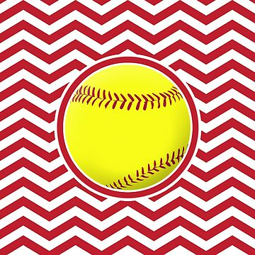 Red and White Fastpitch Softball Zigzag Pattern by BillyBoomstick