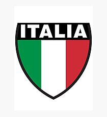 Italy Flag and Shield Photographic Print