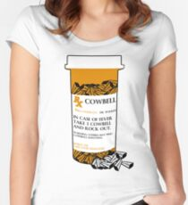 Prescription for Cowbell (outlined) Fitted Scoop T-Shirt