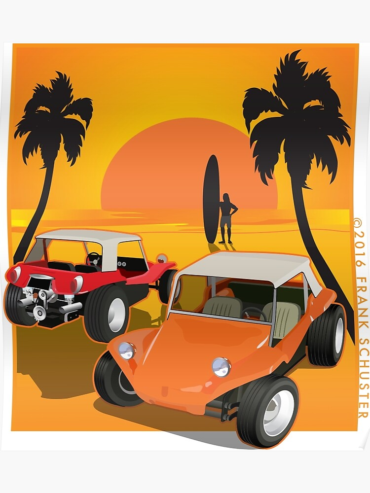Two Manx Dune Buggies at Sunset with Surfer | Poster