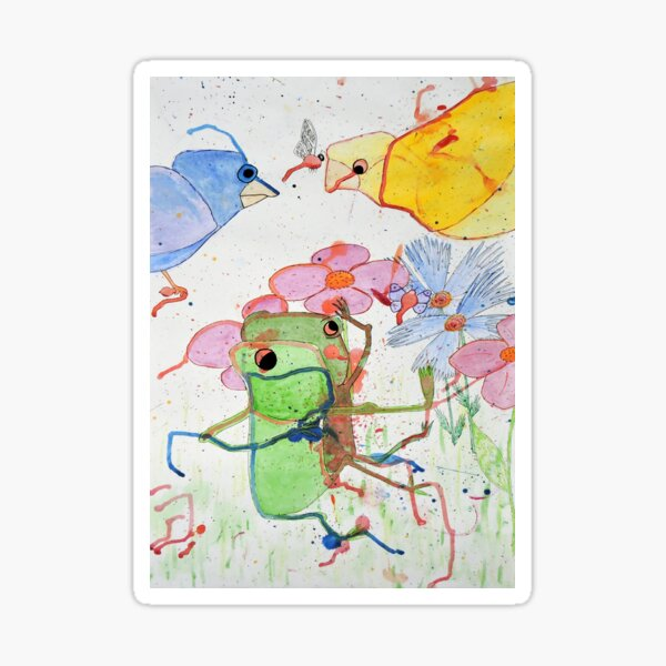 Frogs on a picnic by Laila Cichos Sticker