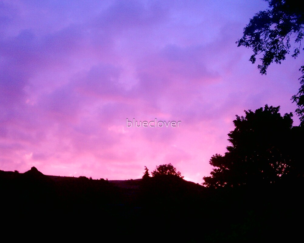 Pink Sunrise over the hills. by blueclover