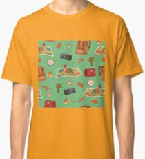 Seamless Pattern of Camping Elements with Baggage, Travel Accessories and Map Classic T-Shirt