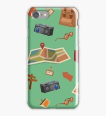 Seamless Pattern of Camping Elements with Baggage, Travel Accessories and Map iPhone Case/Skin