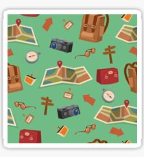 Seamless Pattern of Camping Elements with Baggage, Travel Accessories and Map Sticker